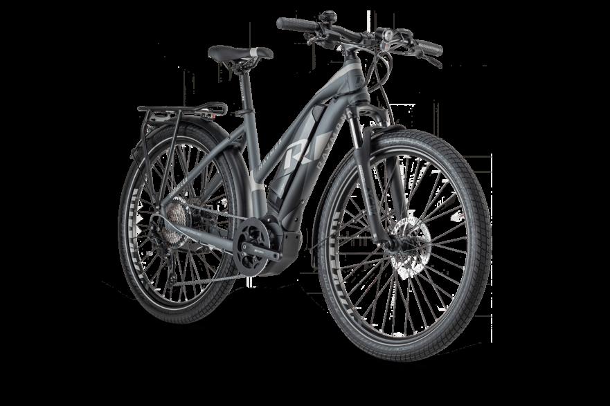 zwart met donkergrijze fiets va nhet merk Tourray